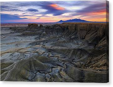 Canvas Print featuring the photograph Cainville Badlands by Johnny Adolphson