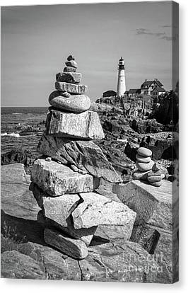 Cairn And Lighthouse  -56052-bw Canvas Print by John Bald