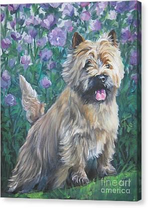 Cairn Terrier In The Flowers Canvas Print by Lee Ann Shepard