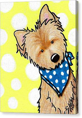 Cairn Terrier On Dotted Yellow Canvas Print by Kim Niles