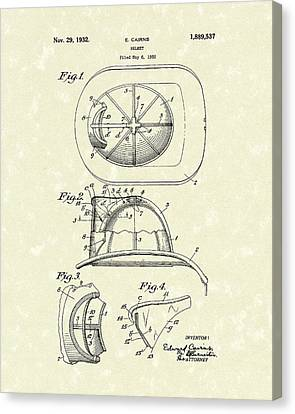 Cairns Helmet 1932 Patent Art Canvas Print by Prior Art Design