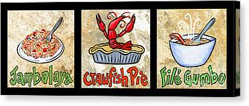 Cajun Food Trio Canvas Print by Elaine Hodges