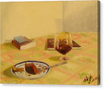 Cake And Wine Canvas Print by Anil Singh