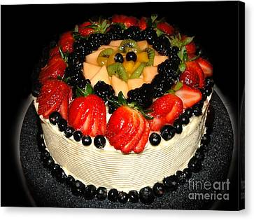 Cake Decorated With Fresh Fruit Canvas Print by Sue Melvin