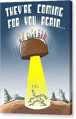Cake Spaceship Canvas Print by Mark Armstrong