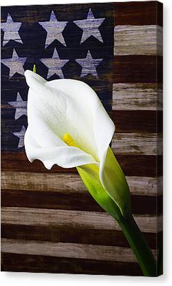 Cala Lily And American Flag Canvas Print by Garry Gay