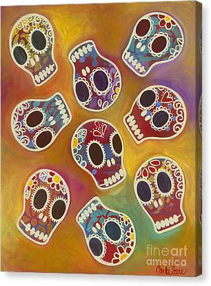 Calaberitas Day Of The Dead Skulls Canvas Print by Carla Bank