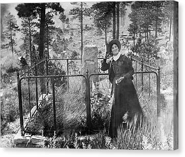Canvas Print featuring the photograph Calamity Jane At Wild Bill Hickok's Grave 1903 by Daniel Hagerman