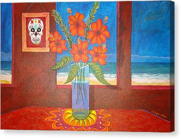 Calavera In Paradise Canvas Print by Manny Chapa