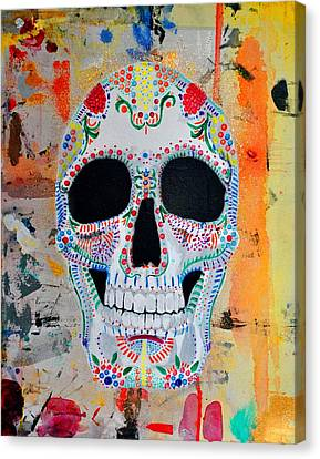 Canvas Print featuring the painting Calavera by Josean Rivera