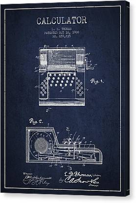 Calculator Patent From 1900 - Navy Blue Canvas Print by Aged Pixel