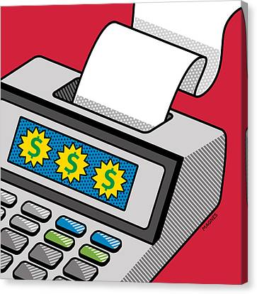 Canvas Print featuring the digital art Printing Calculator by Ron Magnes
