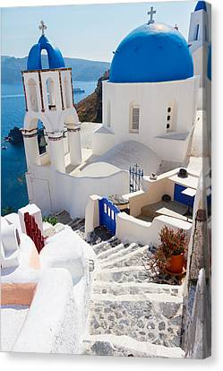 Caldera With Stairs And Church At Santorini Canvas Print by Anastasy Yarmolovich