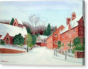 'caldy Village In Winter', Wirral Canvas Print by Peter Farrow