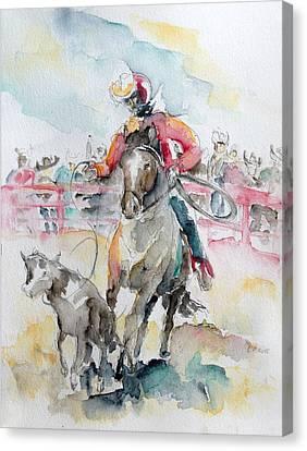 Calf Roping Canvas Print by Barbara Pommerenke