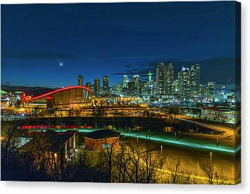 Canvas Print featuring the photograph Calgary At Twilight by Josef Pittner