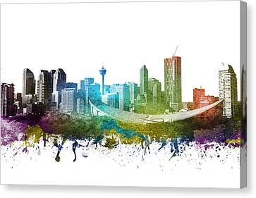 Calgary Cityscape 01 Canvas Print by Aged Pixel