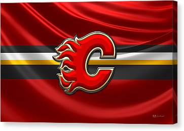 Calgary Flames - 3d Badge Over Flag Canvas Print by Serge Averbukh