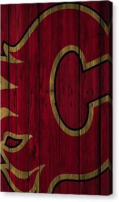 Calgary Flames Wood Fence Canvas Print