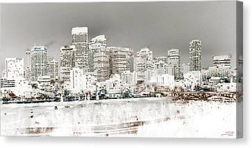 Canvas Print featuring the digital art Calgary Skyline 3 by Stuart Turnbull