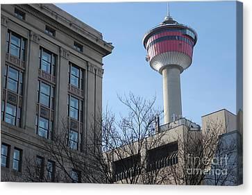 Canvas Print featuring the photograph Calgary Tower by Wilko Van de Kamp