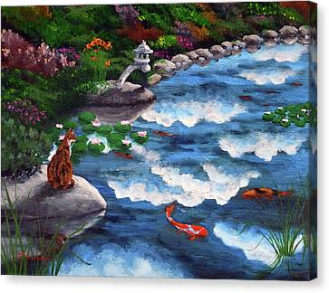 Calico Cat At Koi Pond Canvas Print by Laura Iverson