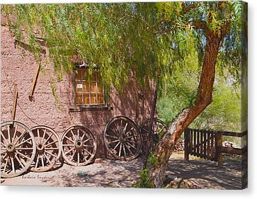 Calico Ghost Town Wagon Wheels Canvas Print by Barbara Snyder