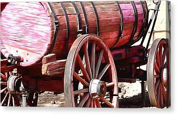 Old Wagon Wheel Canvas Print - Calico Ghost Town Water Wagon by Barbara Snyder