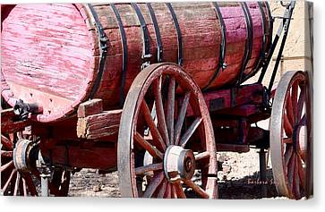 Old Wagon Wheel Canvas Print - Calico Ghost Town Water Wagon Photo by Barbara Snyder
