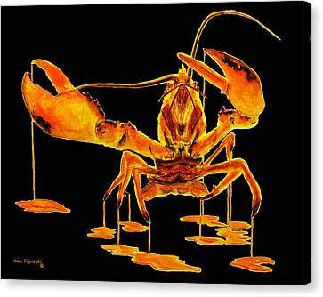 Calico Lobster On Black Canvas Print