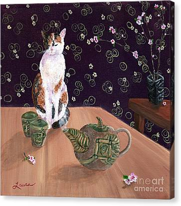 Calico Tea Meditation Canvas Print by Laura Iverson