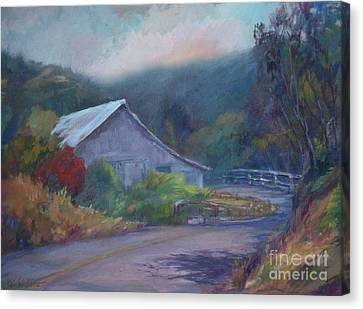 California Barn ... Around The Bend Canvas Print by Deirdre Shibano