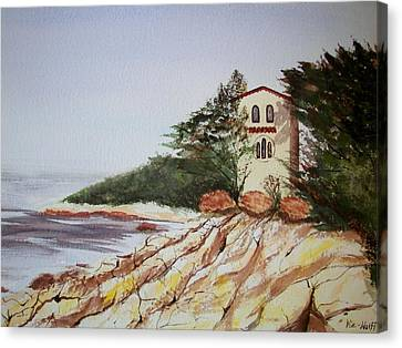 Canvas Print featuring the painting California Coast Dreamhouse by Judy Via-Wolff
