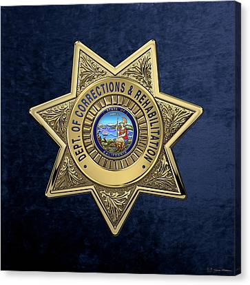 California Department Of Corrections And Rehabilitation - C D C R  Officer Badge Over Blue Velvet Canvas Print