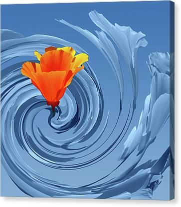 California Dreaming - Steel Blue And Orange Abstract Canvas Print by Gill Billington