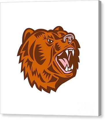 California Grizzly Bear Head Growling Woodcut Canvas Print