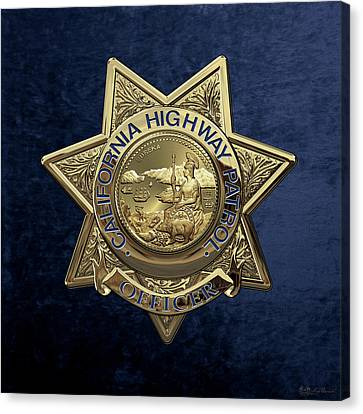 California Highway Patrol  -  C H P  Police Officer Badge Over Blue Velvet Canvas Print by Serge Averbukh