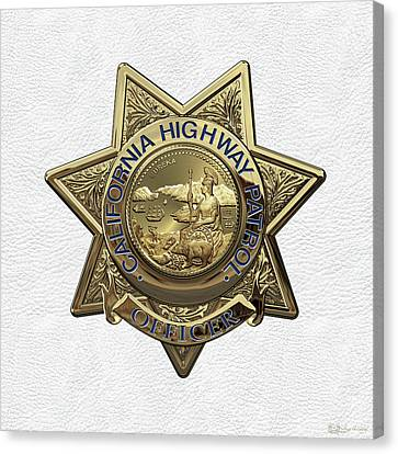 California Highway Patrol  -  C H P  Police Officer Badge Over White Leather Canvas Print