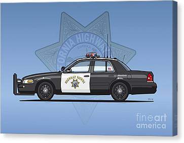 California Highway Patrol Ford Crown Victoria Police Interceptor Canvas Print by Monkey Crisis On Mars