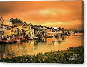 Sausalito Canvas Print - California Houseboats by Claudia M Photography