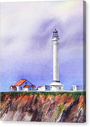 Canvas Print featuring the painting California Lighthouse Point Arena by Irina Sztukowski