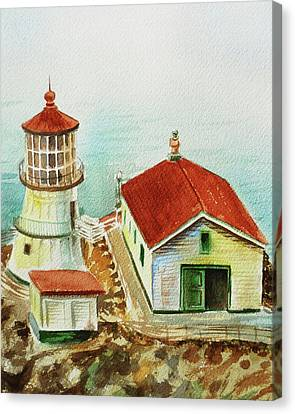 Canvas Print featuring the painting California Lighthouse Point Reyes  by Irina Sztukowski