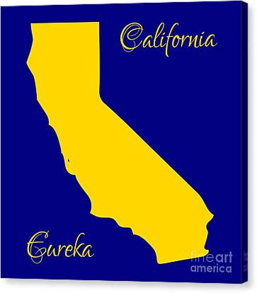California Map With State Colors And Motto Canvas Print by Rose Santuci-Sofranko