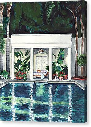 California Pool House Greek Revival Canvas Print
