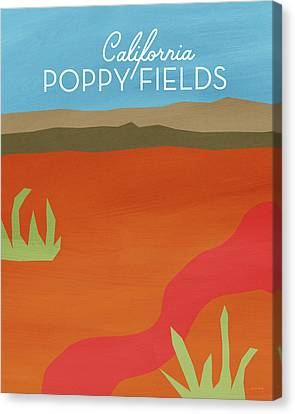California Poppy Fields- Art By Linda Woods Canvas Print by Linda Woods