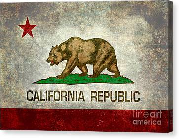 West Coast Canvas Print - California Republic State Flag Retro Style by Bruce Stanfield