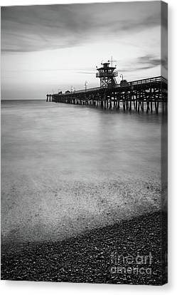 Clemente Canvas Print - California San Clemente Pier Black And White Picture by Paul Velgos