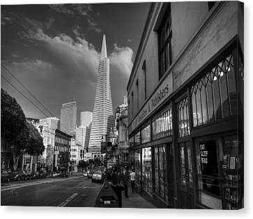 Canvas Print featuring the photograph California - San Francisco 009 Bw by Lance Vaughn