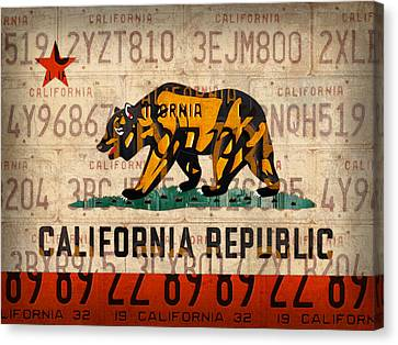 California State Flag Recycled Vintage License Plate Art Canvas Print by Design Turnpike