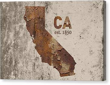 California State Map Industrial Rusted Metal On Cement Wall With Founding Date Series 007 Canvas Print by Design Turnpike
